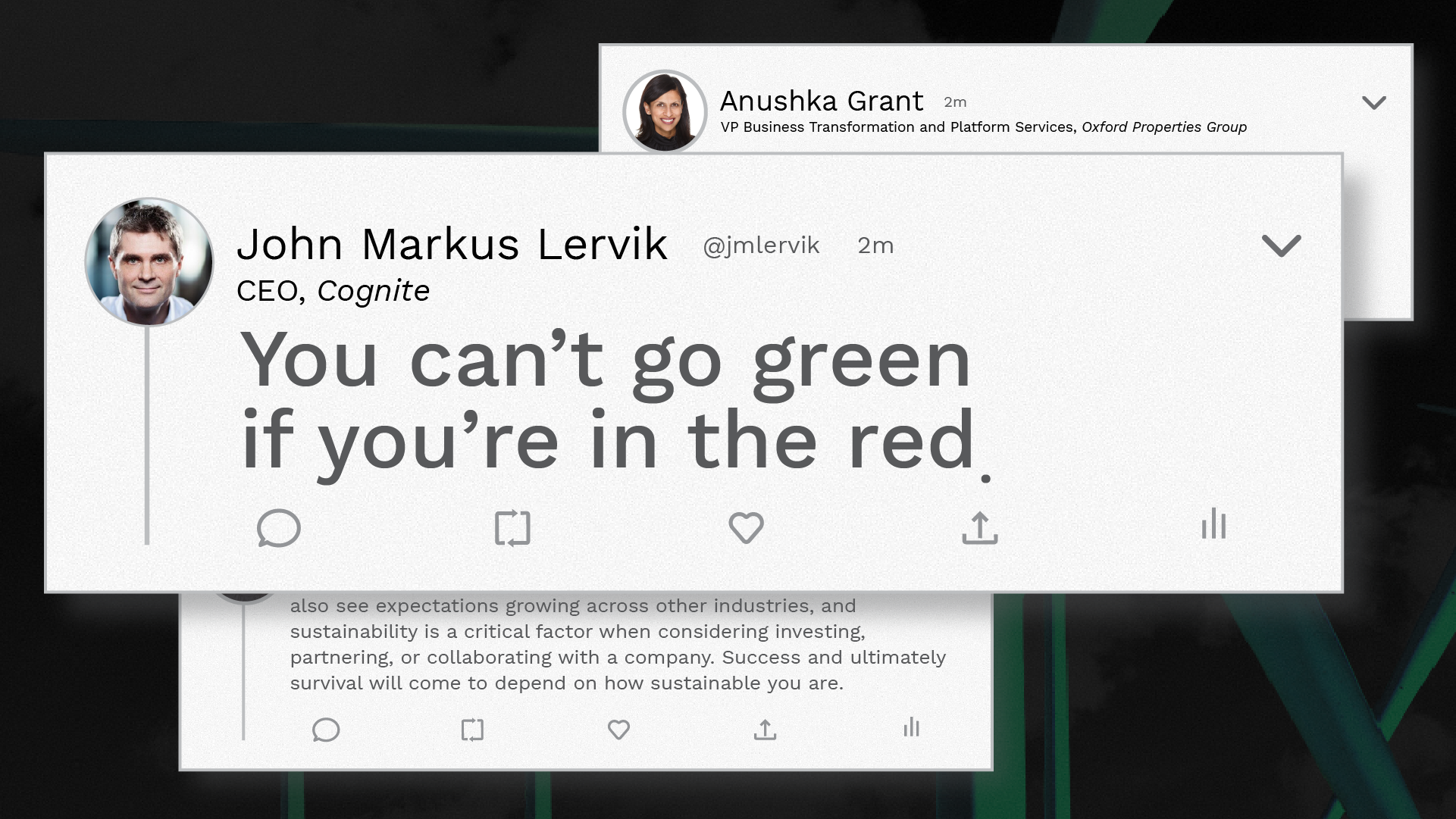 You can't go green if you're in the red